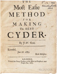 Worlidge, John (fl. circa 1660-1698) The Most Easie Method for Making the Best Cyder.