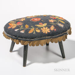 Applique Upholstered Footstool