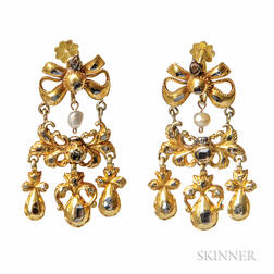 Antique Gold and Diamond Earpendants