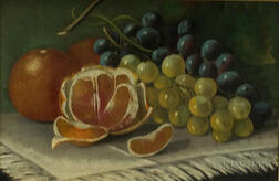 British School, Late 19th Century      Still Life with Oranges and Grapes