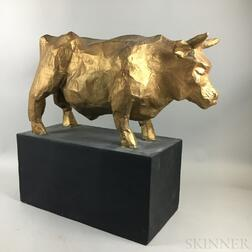 Large Gold-painted Papier-mache Bull