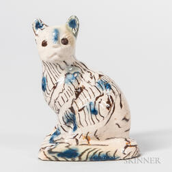 Staffordshire Salt-glazed Stoneware Solid Agate Model of a Cat