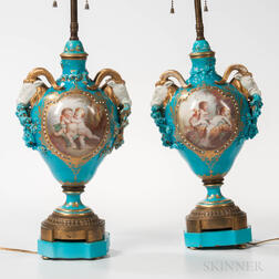 Pair of Sevres-style Porcelain Table Lamps