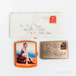 Two Vintage Enameled Cigarette Cases and a Vintage Personalized Letter Compact