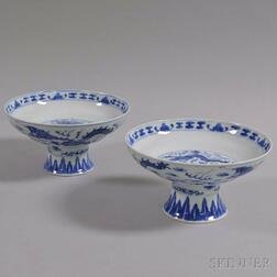 Pair of Blue and White Porcelain Compotes