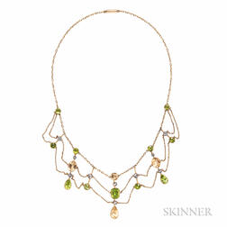 Antique Gold Gem-set Festoon Necklace