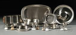 Twenty-two Pieces of Scandinavian Stainless Steel and Glass Tableware
