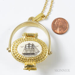 Gold-filled Nantucket Basket Charm and Chain