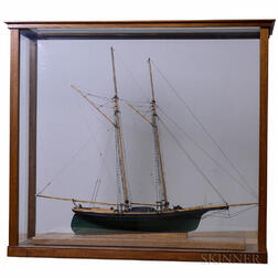 Cased Ship Model of the Schooner Dancing Feather