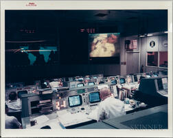 Apollo 13, Mission Operations Control, April 13, 1970 [and] Photographic Portrait of James Lovell.