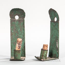 Pair of Green-painted Miniature Candle Sconces