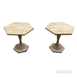 Two Hexagonal Travertine End Tables