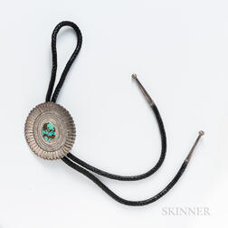 Navajo Silver and Turquoise Bolo Tie