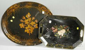 Two Hand-painted Floral-decorated Toleware Trays