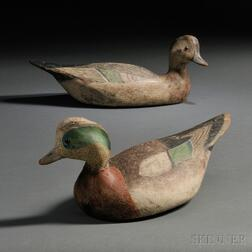 Pair of Rare Ward Brothers Widgeon Decoys