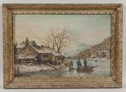 American School, Late 19th Century      Winter Homestead Landscape with Figures on a Frozen Lake