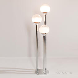 Mazzega Three-stem Chrome Floor Lamp with Murano Globes