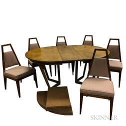 Dining Table with Three Leaves and Six Chairs