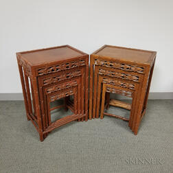 Two Sets of Four Nesting Tables