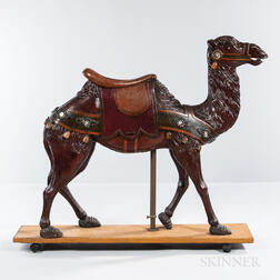Polychrome Decorated Carved Camel Carousel Figure