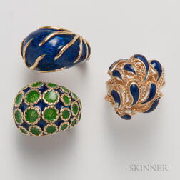 Three Gold and Enamel Rings