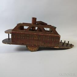W.S. Reed Lithographed Wood Ocean Queen   Paddleboat Sidewheeler