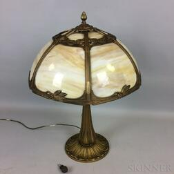 Bronzed Cast Metal and Slag Glass Table Lamp