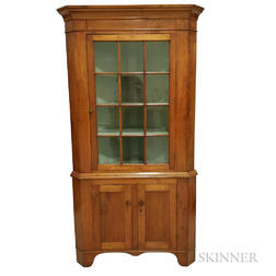 Country Glazed Cherry Corner Cupboard