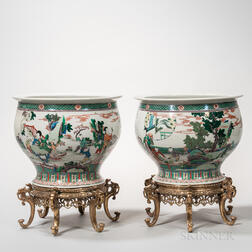 Pair of Ormolu-mounted Famille Verte Large Porcelain Bowls