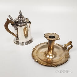 Elkington & Co. Silver-plated Chamberstick and Silver-plated Argyle