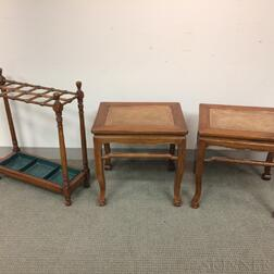 Pair of Chinese-style Hardwood Tables and an English Turned Walnut Umbrella Stand.     Estimate $200-300