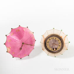 Two French Umbrella-form Desk Clocks