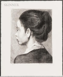 Raphael Soyer (American, 1899-1987)    Portrait of a Young Girl (Profile)