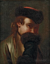 Attributed to Pietro Antonio Rotari (Italian, 1707-1762)      Portrait of a Russian Woman Hiding Her Smile Behind a Fur Cuff