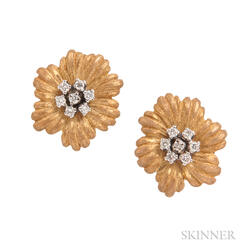 "18kt Gold and Diamond ""Anemone"" Earclips, Buccellati"