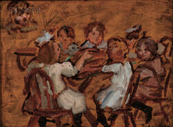Theresa Ferber Bernstein (American, 1890-2002)      Double-sided Painting: Children at the Table, Wooded Landscape
