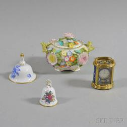 Two Herend Porcelain Bells, a Coalport Covered Box, and a Carriage Clock.     Estimate $100-150