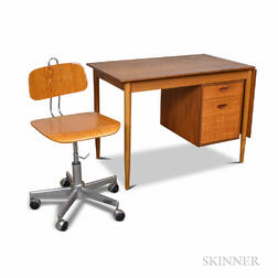 Danish Modern Teak Desk and a Chrome and Plywood Swivel Desk Chair.