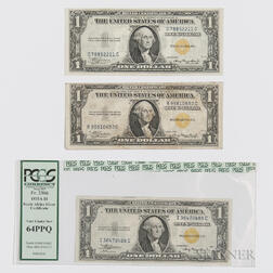 Three 1935A $1 Silver Certificate Emergency Notes for North Africa, Fr. 2306