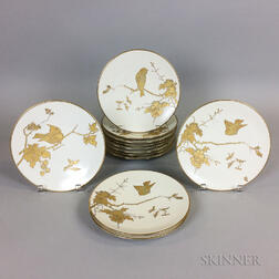 Set of Twelve Fischer and Mieg Porcelain Bird Plates