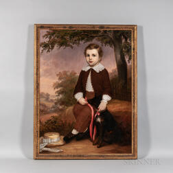 American School, 19th Century      Portrait of a Boy with His Dog and Purple Sunset Beyond