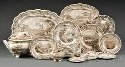 Transfer-decorated Staffordshire Pottery Partial Dinner Service with Hudson River Vi   iews,