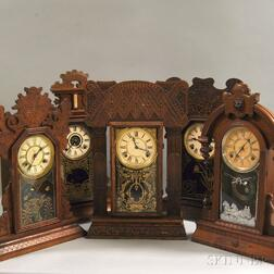 "Five ""Gingerbread"" Connecticut Shelf Clocks"
