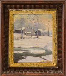 Charles Richardson (American, 20th Century)       Winter Scene with a Homestead.