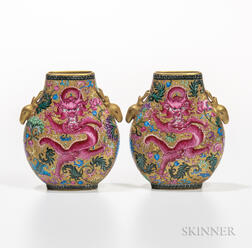Pair of Gilt Famille Rose Flask Vases