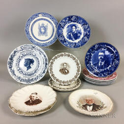 Sixteen Transfer-decorated Ceramic Plates