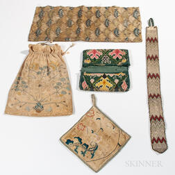 Group of Early Needlework and Embroidered Items