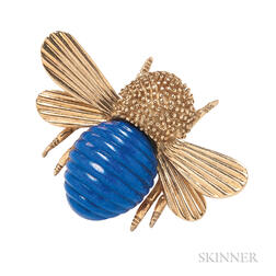 18kt Gold and Lapis Bee Brooch