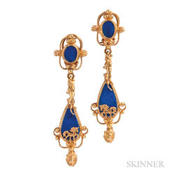 High-karat Gold and Lapis Earrings, Javeri