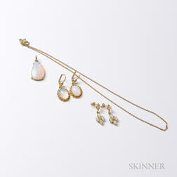 Two Pairs of 14kt Gold and Opal Earrings and a 9kt Gold and Opal Pendant